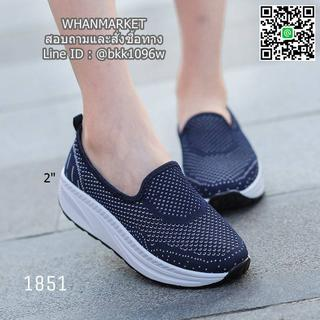 รองเท้าผ้าใบลำลอง เสริมส้น 2 นิ้ว วัสดุผ้าทอตาข่ายอย่างดี  รูปที่ 2
