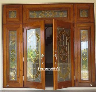 ประตูไม้สักบานเลื่อน ประตูไม้สักกระจกนิรภัย รูปที่ 4
