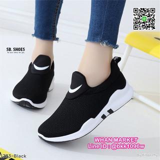 รองเท้าผ้าใบแฟชั่น แบบสวม วัสดุผ้า ทรงกระชับเท้า น้ำหนักเบา  รูปที่ 1