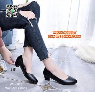 รองเท้าคัชชูสีดำ ส้นเหลี่ยม ส้นสูง 1.5 นิ้ว หนังPU อย่างดี  รูปที่ 2