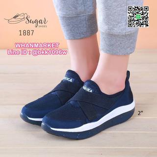 รองเท้าผ้าใบลำลอง เสริมส้น 2 นิ้ว วัสดุผ้าทอตาข่ายอย่างดี  รูปที่ 6