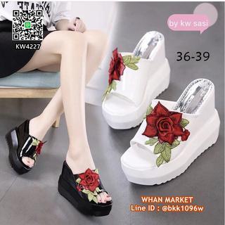 รองเท้าส้นเตารีด วัสดุหนังแก้ว พื้นทำจาก pu ปักดอกกุหลาบนูน รูปที่ 4