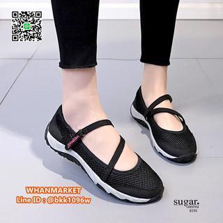รองเท้าผ้าใบลำลอง ทำจากผ้าตาข่ายยืด มีสายยางยืดรัด  รูปที่ 1