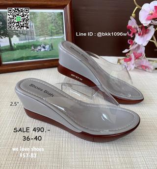 รองเท้าส้นเตารีด พลาสติกใสนิ่ม น้ำหนักเบา สูง 2.5 นิ้ว   รูปที่ 4