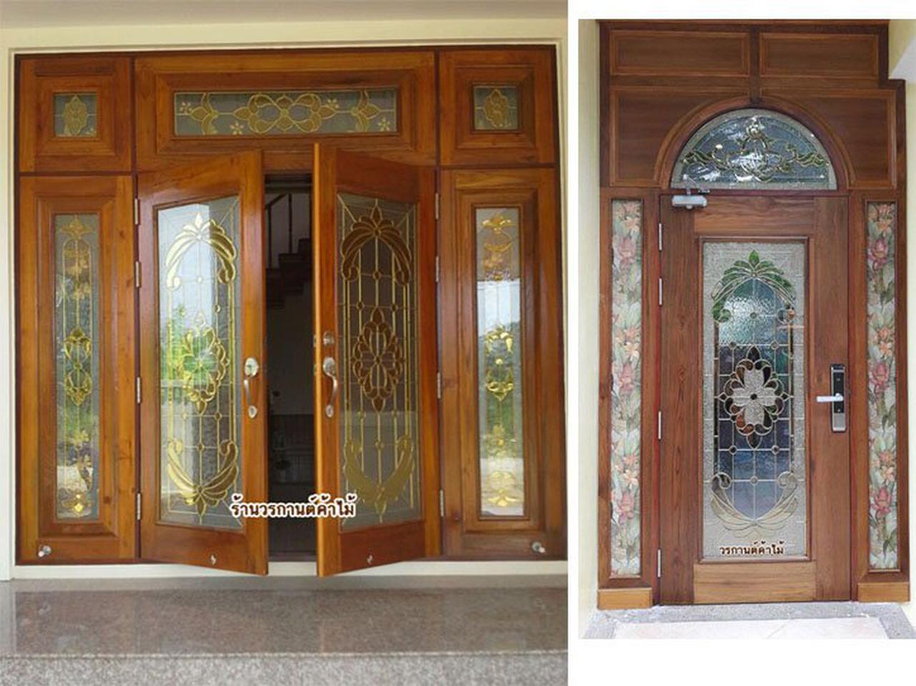 ประตูไม้สัก ,ประตูไม้สักกระจกนิรภัย, ประตูไม้สักบานคู่, ประตูไม้สักบานเดี่ยว ร้านวรกานต์ค้าไม้  door-woodhome.com รูปที่ 1