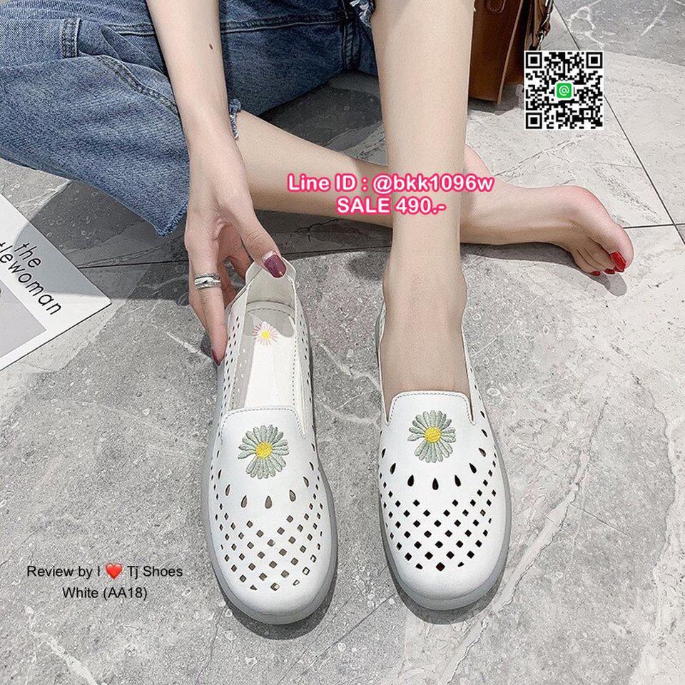 รองเท้าคัชชูหนัง วัสดุหนังPUนิ่มมาก ปักลายดอกไม้น่ารัก  รูปที่ 3