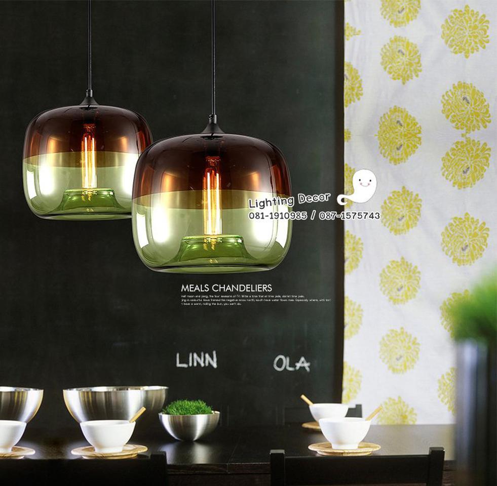 โคมไฟแอปเปิ้ล โคมไฟแก้วใสรูปแอปเปิ้ล โคมไฟแก้วสีเขียว และโคมไฟแก้วสีฟ้า เป็นโคมไฟสไตล์โมเดร์น  รูปที่ 3
