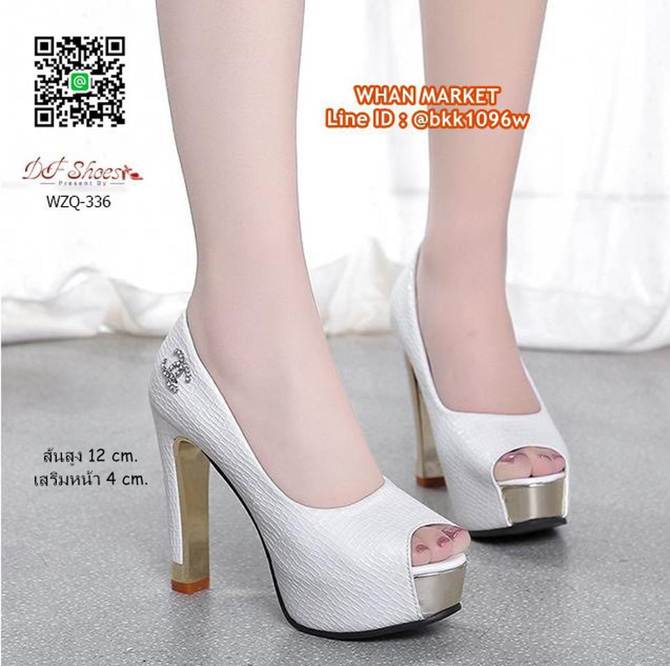 รองเท้าคัชชูส้นสูง 12 cm. เสริมหน้า 4 cm. วัสดุหนัง PU ปั้มล รูปที่ 6