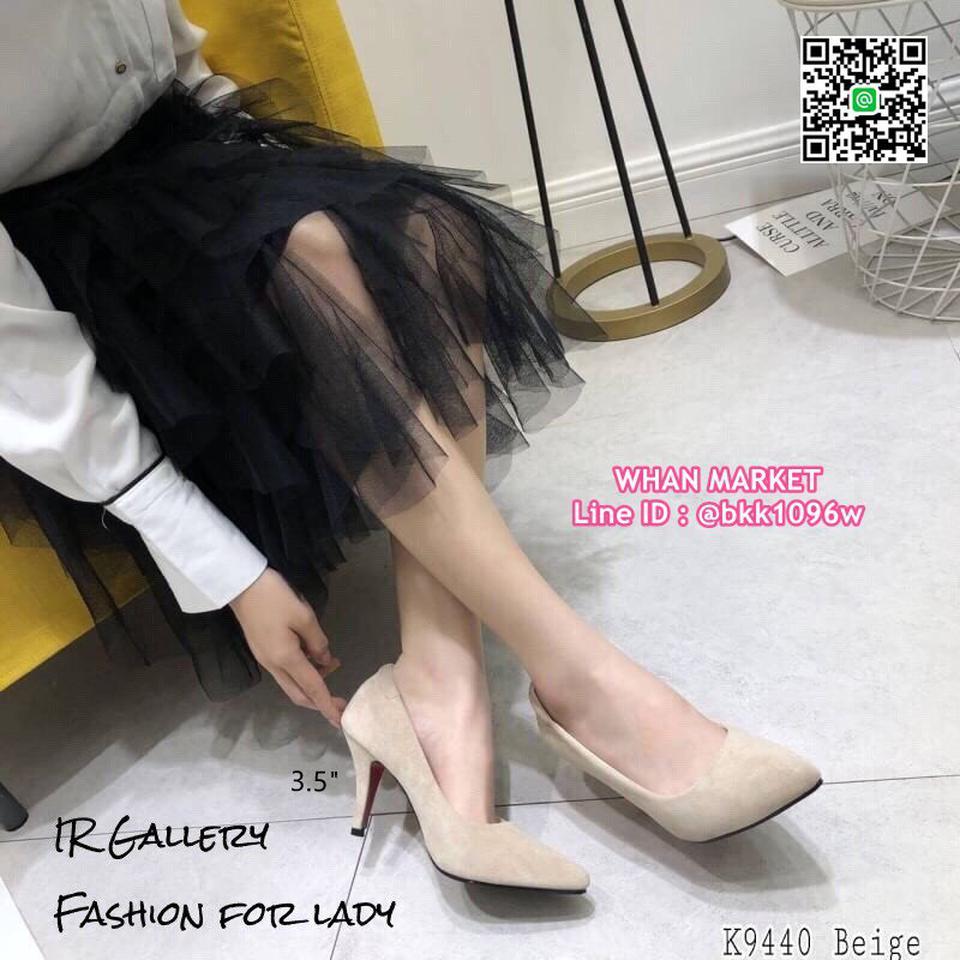 รองเท้าคัทชู หนังกลับนิ่ม หัวแหลม สูง 3.5 นิ้ว แพทเทรินสวย รูปที่ 5