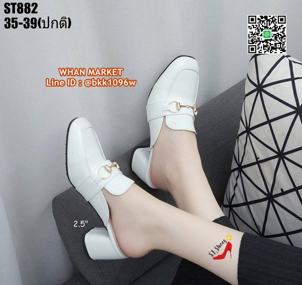 รองเท้าคัชชูเปิดท้าย ส้นเหลี่ยม สูง 2.5 นิ้ว วัสดุหนังแก้ว รูปที่ 1