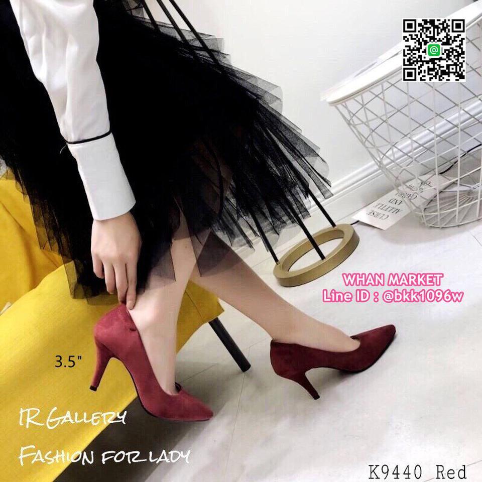 รองเท้าคัทชู หนังกลับนิ่ม หัวแหลม สูง 3.5 นิ้ว แพทเทรินสวย รูปที่ 2