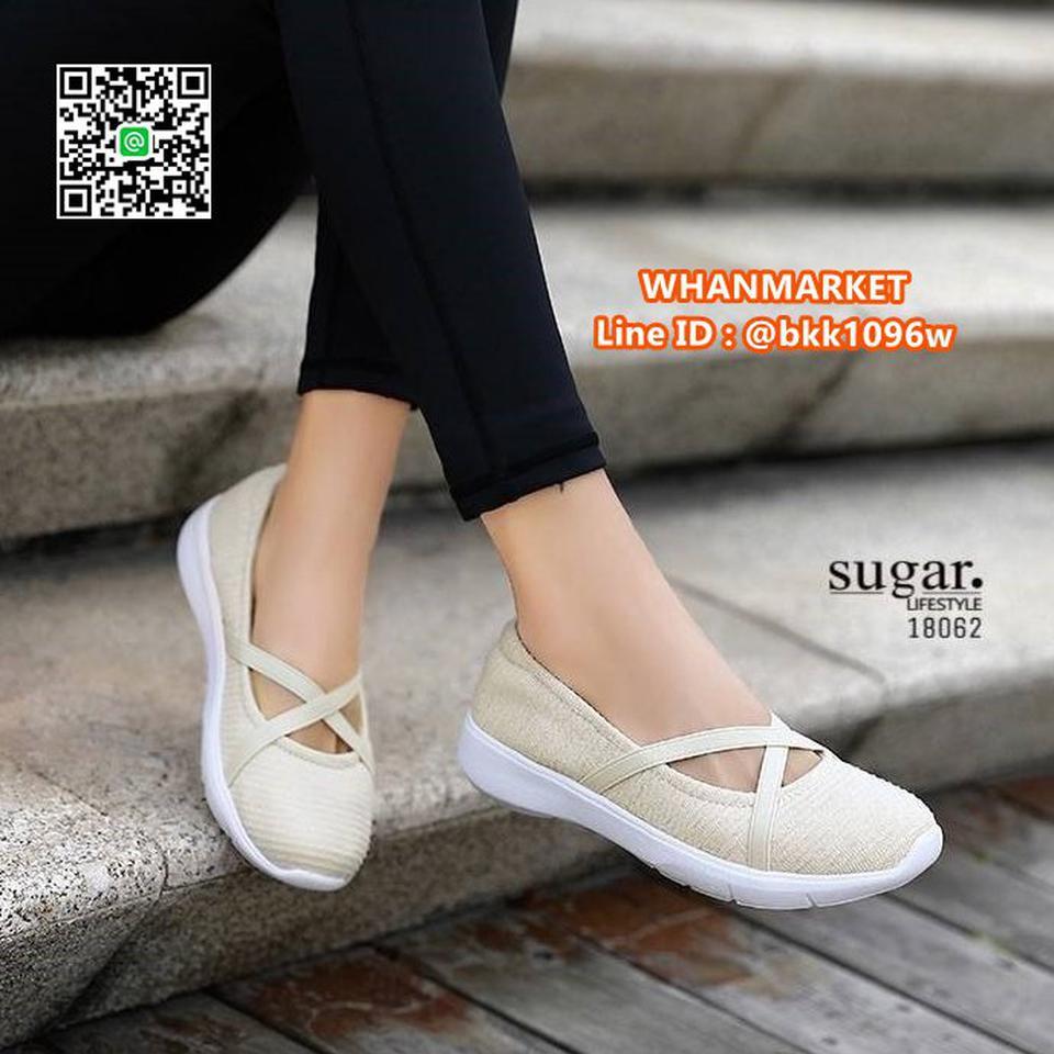 รองเท้าผ้าใบลำลอง ทำจากผ้าใบยืดหยุ่นได้ดี มีสายยางยืดรัดหน้า รูปที่ 5