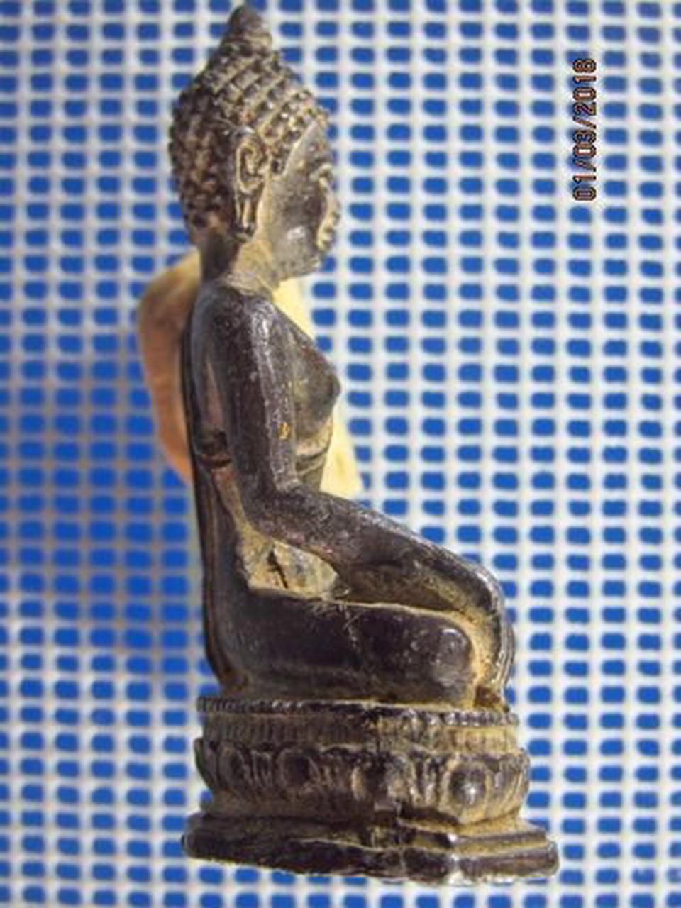 5131 พระบูชาเนื้อตะกั่วสนิมแดง ปิดทองเก่า ฐานกว้าง 1.4 นิ้ว  รูปที่ 2