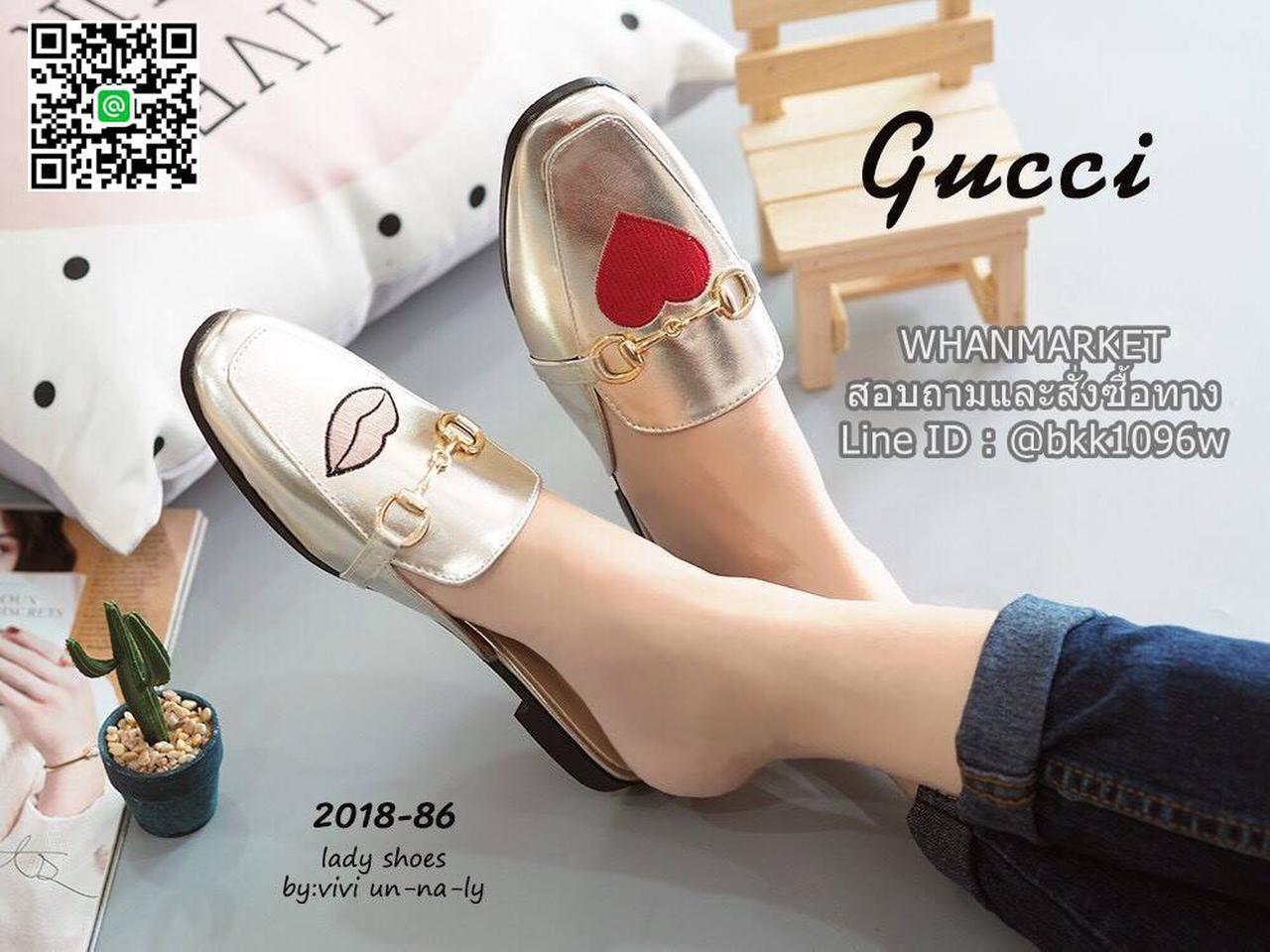 รองเท้าแตะหัวตัด งานเปิดส้น งานstyle Gucci ปักลายรูปปากและหัวใจ สุดน่าร๊าก รูปที่ 2