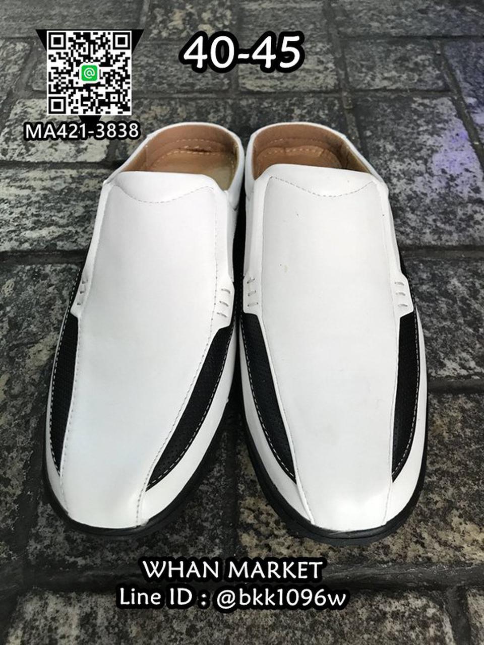 รองเท้าลำลองผู้ชาย วัสดุหนัง PU คุณภาพดี แบบเปิดส้น สวมใส่ง่ รูปที่ 5