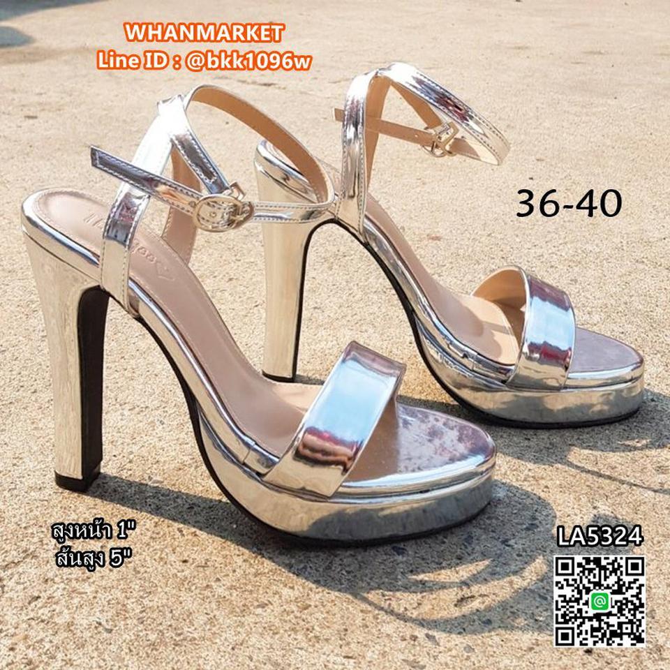 """รองเท้าส้นสูงแฟชั่น แบบรัดข้อ วัสดุหนังPUเคลือบ สีเงิน สูง5"""" รูปที่ 1"""