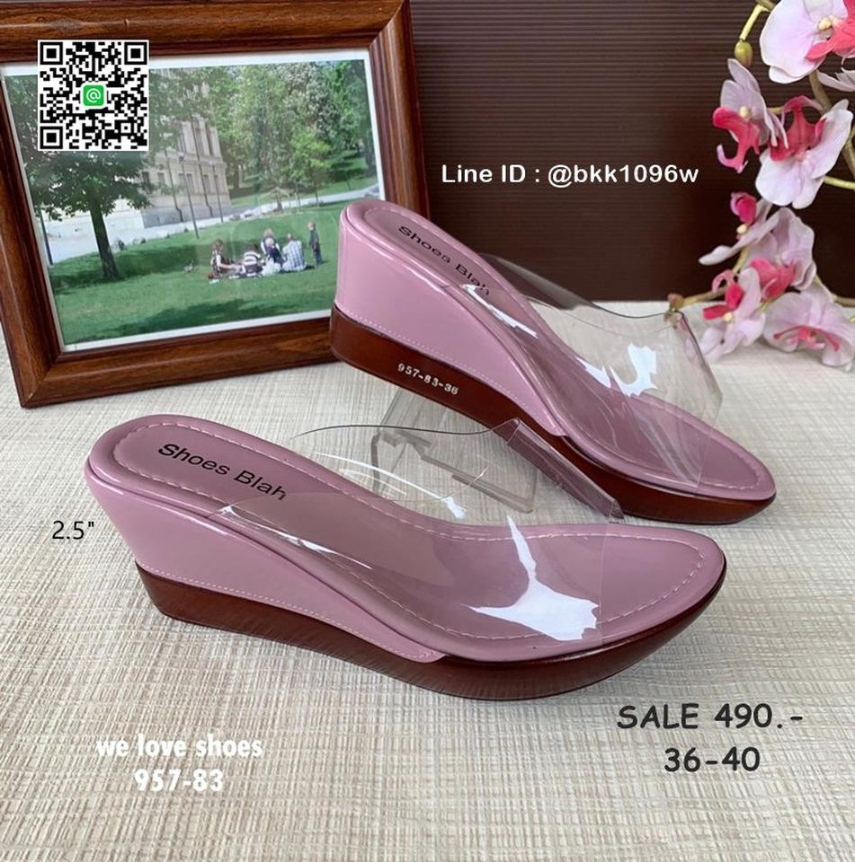 รองเท้าส้นเตารีด พลาสติกใสนิ่ม น้ำหนักเบา สูง 2.5 นิ้ว  รูปที่ 2