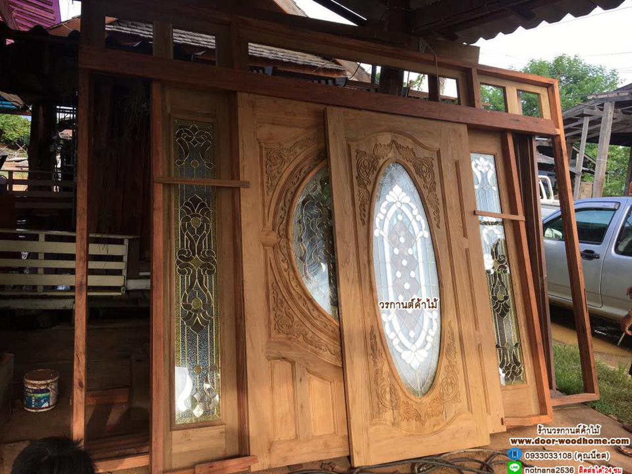 ประตูไม้สัก,ประตูไม้สักกระจกนิรภัย www.door-woodhome.com ร้านวรกานต์ค้าไม้ รูปที่ 1