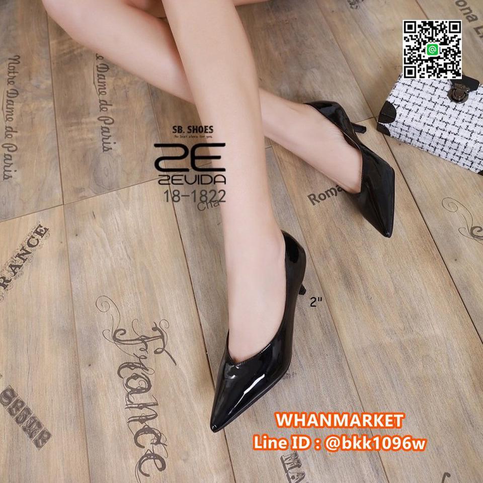 รองเท้าคัชชู หัวแหลม ส้นสูง 2นิ้ว วัสดุหนังPUเงา ใส่แล้วหรู  รูปที่ 3
