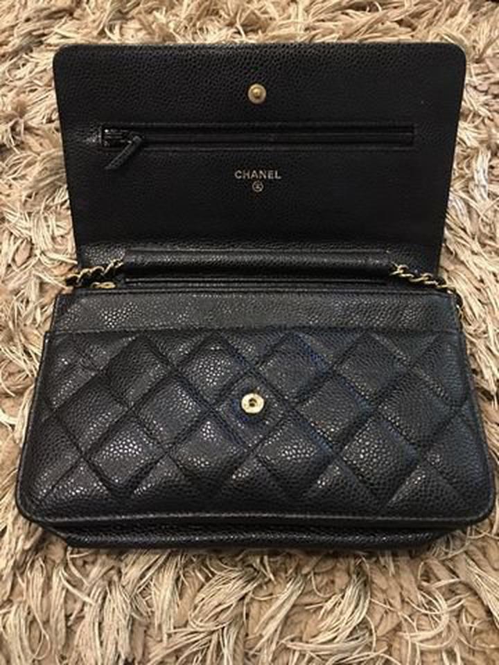 new chanel black caviar sarah wallet รูปที่ 3