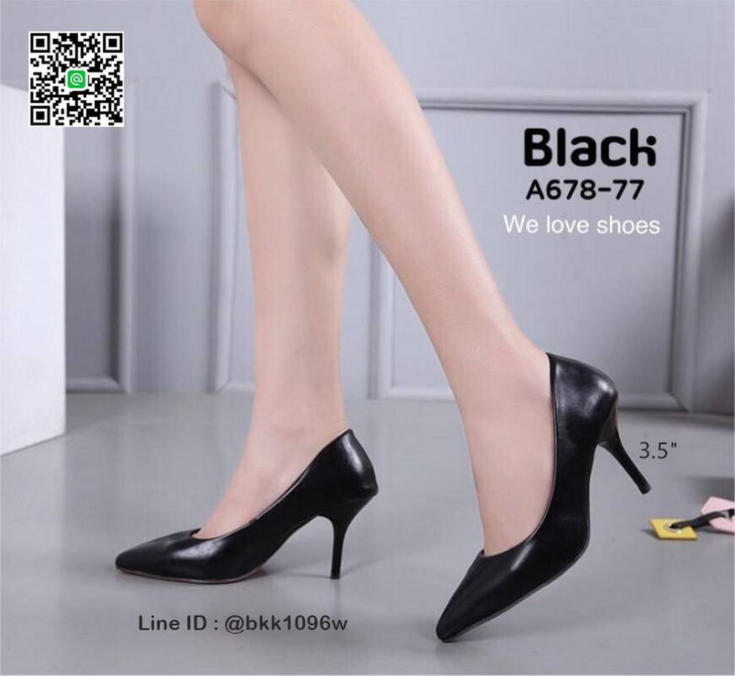 รองเท้าคัชชู ส้นสูง 3.5 นิ้ว หนังPUนิ่ม เงางาม ทรงหัวแหลม รูปที่ 3