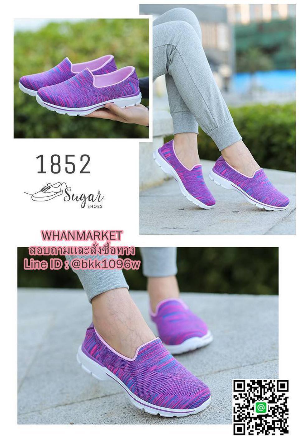 รองเท้าผ้าใบ แบบสวม ทำจากผ้ายืดทออย่างดี  พื้นนิ่มและเบามาก รูปที่ 2