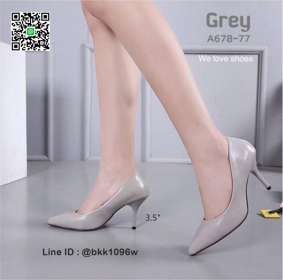 รองเท้าคัชชู ส้นสูง 3.5 นิ้ว หนังPUนิ่ม เงางาม ทรงหัวแหลม รูปที่ 5