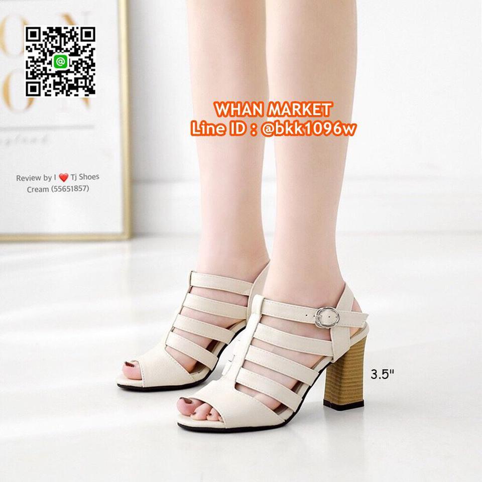 รองเท้าส้นสูง 3.5 นิ้ว รัดส้น วัสดุหนังpuนิ่ม ส้นลายไม้น่ารั รูปที่ 1