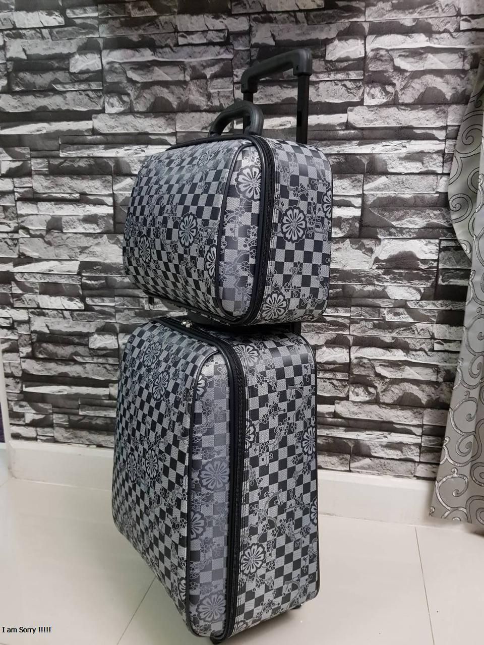 กระเป๋าเดินทางแบบผ้า เซ็ทคู่ 18/13 นิ้ว ลาย Gray/Black รูปที่ 3