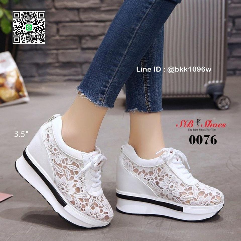 รองเท้าผ้าใบเสริมส้น วัสดุลูกไม้+หนัง PU แพลตฟอร์มเกาหลี   รูปที่ 5