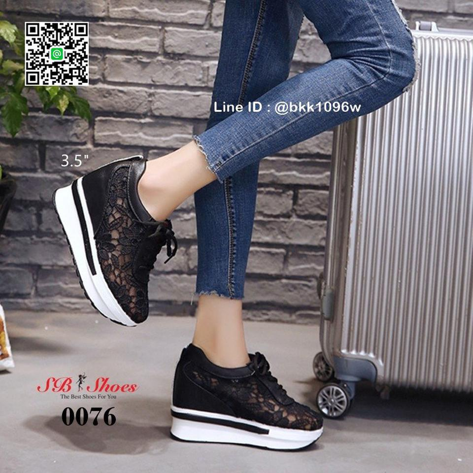 รองเท้าผ้าใบเสริมส้น วัสดุลูกไม้+หนัง PU แพลตฟอร์มเกาหลี   รูปที่ 4
