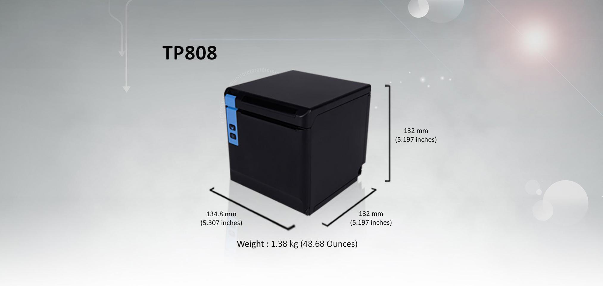 ปริ้นเตอร์ TP808 พิมพ์ใบเสร็จ เชื่อมต่อ USB+Serial+Ethernet  รูปที่ 1