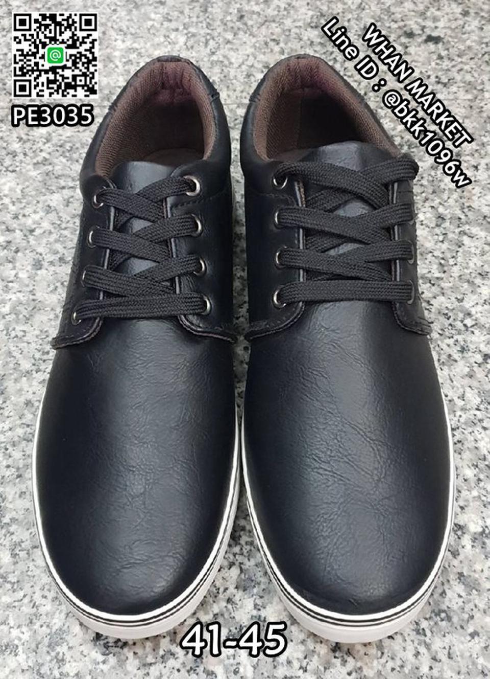 รองเท้าผ้าใบหนังผู้ชาย วัสดุหนังPU คุณภาพดี มีเชือกผูกปรับกร รูปที่ 3