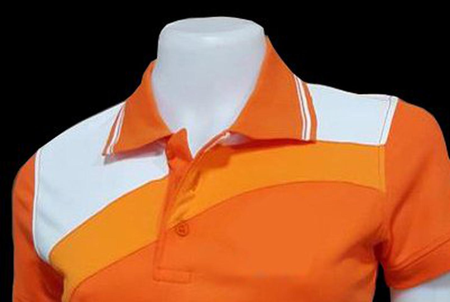 เสื้อโปโลสำเร็จรูปตัดต่อ สีส้มแบบสไลท์ ทรงสปอร์ตทั่งชาย-หญิง รูปที่ 2