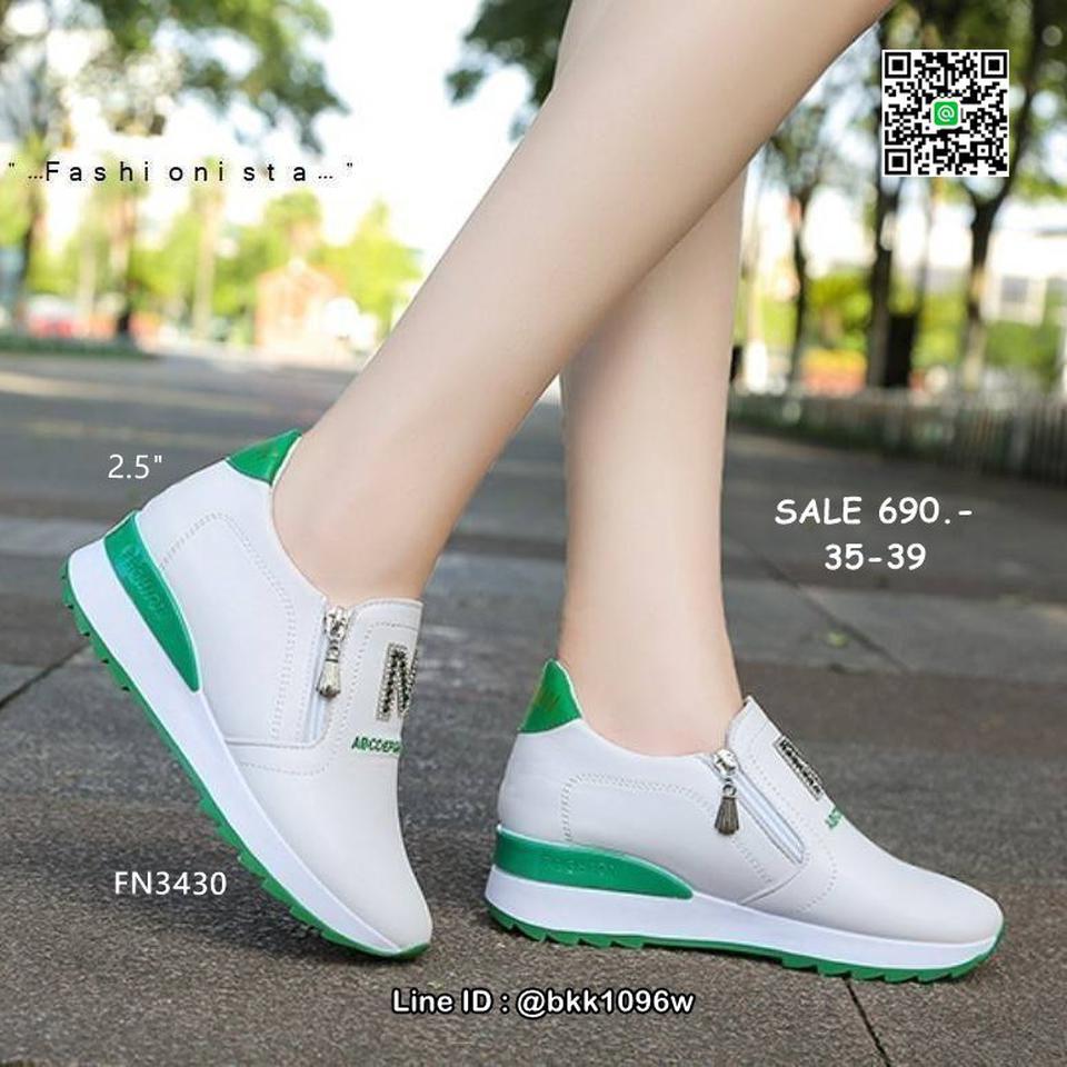 รองเท้าผ้าใบเสริมส้น วัสดุ pu เนื้อหนานุ่ม แต่งซิปคู่ด้านหน้ รูปที่ 4
