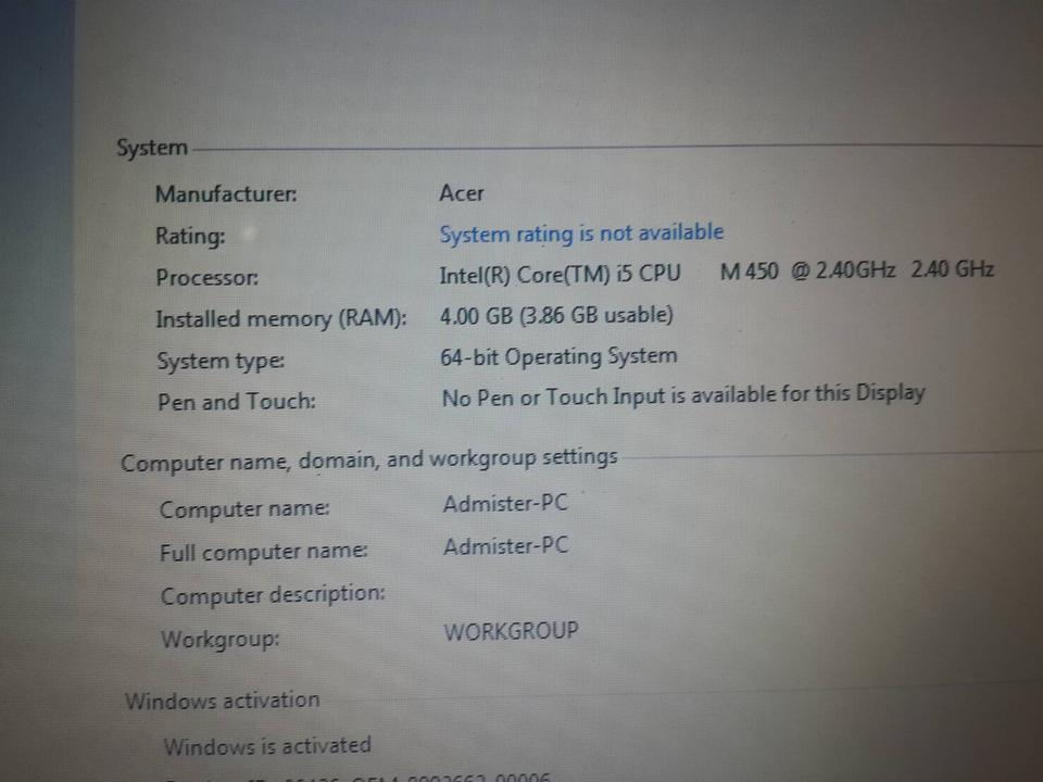 notebook Acer Aspire M450 รูปที่ 2