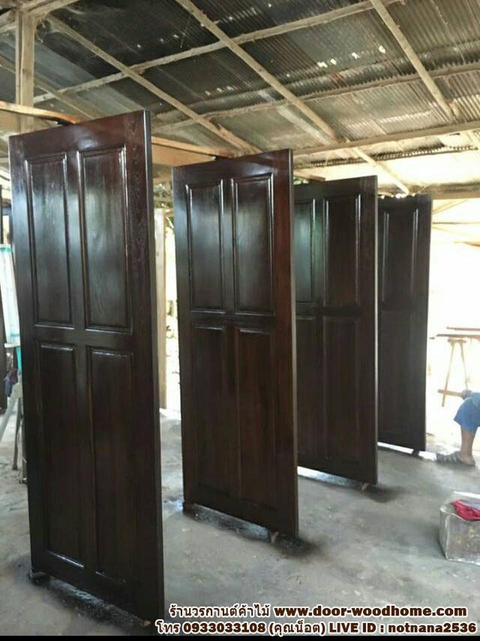 ร้านวรกานต์ค้าไม้ จำหน่าย ประตูไม้สักบานคู่ ประตูไม้สักบานเดี่ยว ประตูไม้สักกระจกนิรภัย ประตูโมเดิร์น รูปที่ 3
