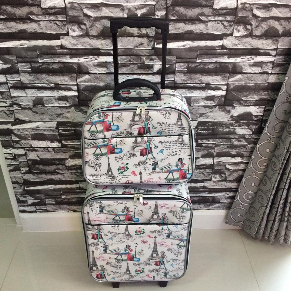 กระเป๋าเดินทางแบบผ้า ลายหอไอเฟล Set คู่ ขนาด 16 นิ้ว รูปที่ 1