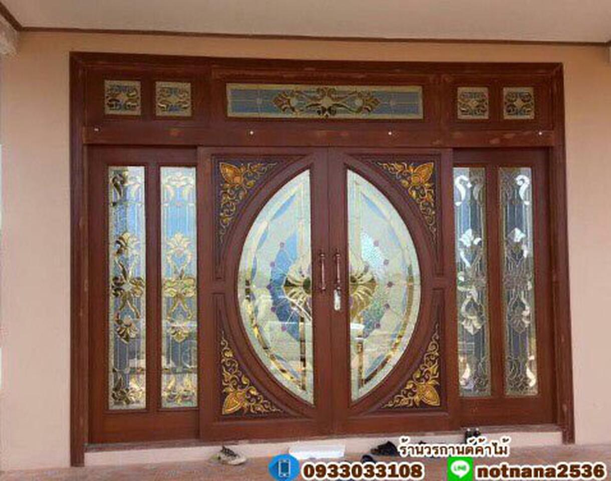 ประตูไม้สักกระจกนิรภัย , ประตูไม้สักบานคู่ ร้านวรกานต์ค้าไม้ door-woodhome.com รูปที่ 2
