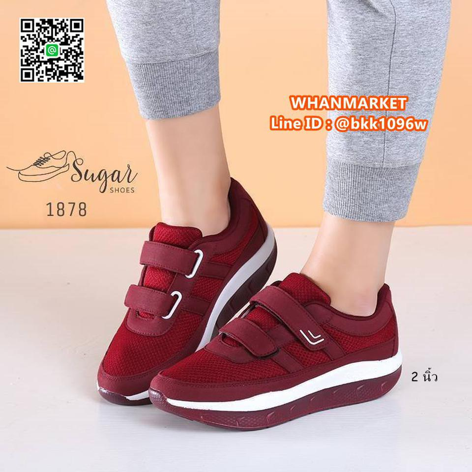 รองเท้าผ้าใบ พื้นสูง 2 นิ้ว ทำจากผ้าตาข่าย ตกแต่งขอบด้วยหนัง รูปที่ 2