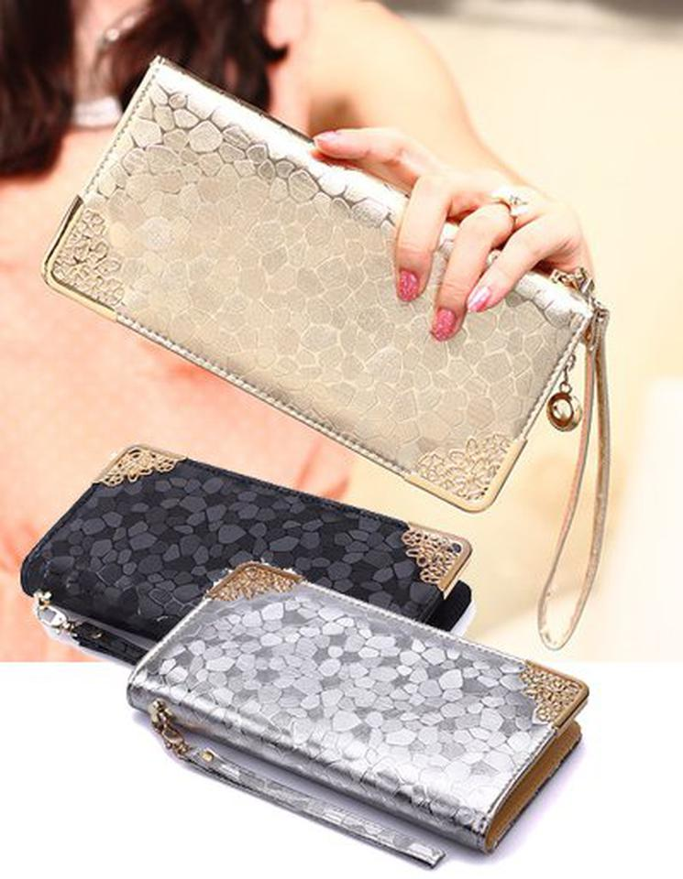 กระเป๋าสตางค์ ลายหินอ่อน สีประกายสวยหรู รูปที่ 1