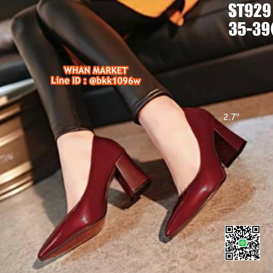 รองเท้าคัชชู ส้นแท่ง สูง 2.7 นิ้ว หัวแหลม วัสดุหนังแก้ว  รูปที่ 1