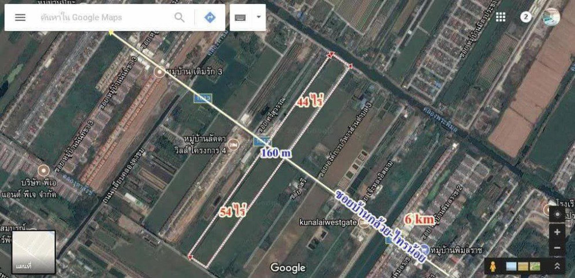 ขายที่ดินไทรน้อย 54ไร่ ติดถนนบ้านกล้วยไทรน้อย บางบัวทอง นนทบุรี ไร่ๆละ 5.5 ล้านาน  รูปที่ 1