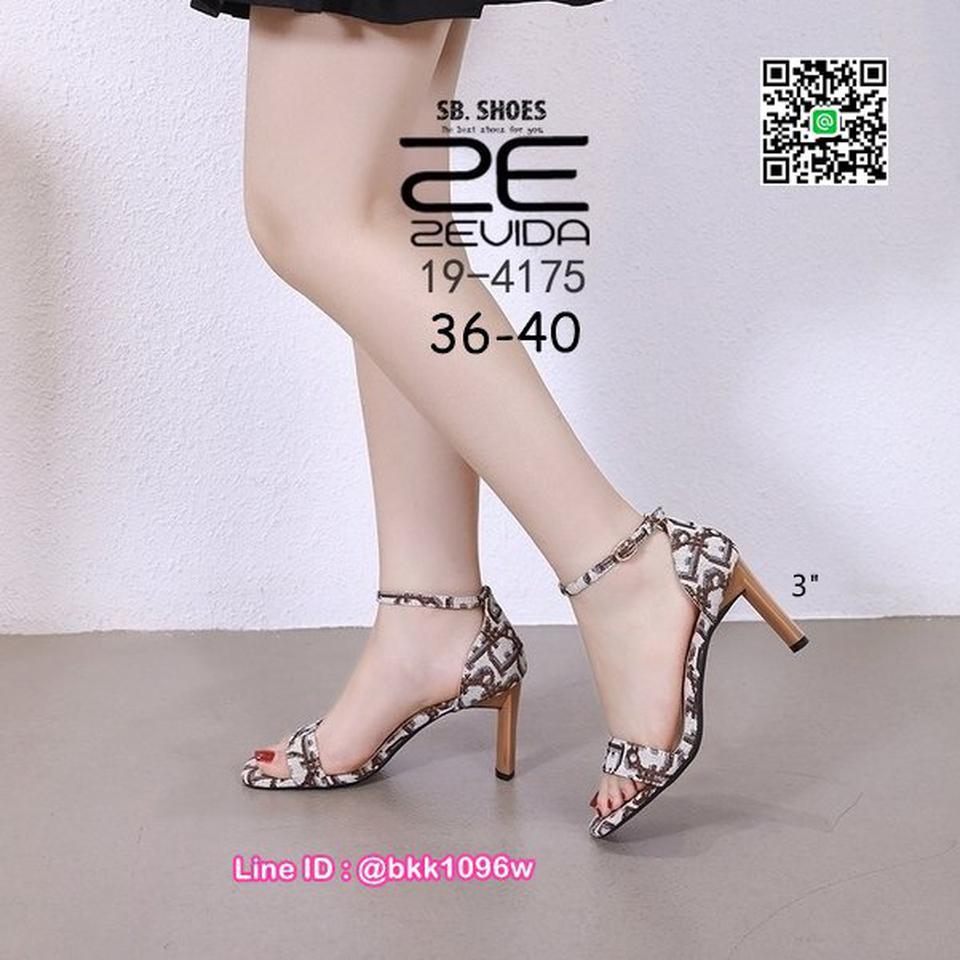 รองเท้าส้นสูง 3นิ้ว วัสดุผ้าพิมพ์ลาย รัดข้อตะขอเกี่ยว  รูปที่ 4
