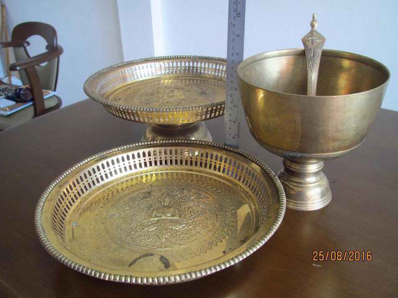 3787 เครื้องใช้ชุดทองเหลืองลาย เทพพนม มี ขัน พาน ทับพี ถาดสู รูปที่ 5
