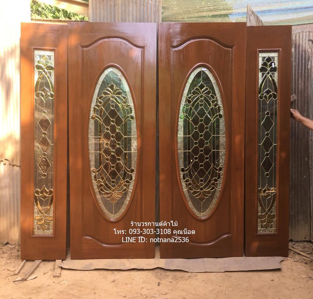 ประตูไม้สักบานเลื่อน ประตูไม้สักกระจกนิรภัย รูปที่ 1