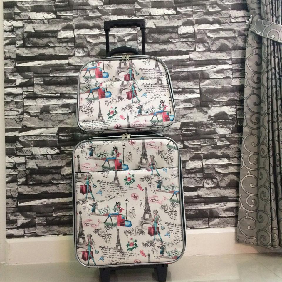 กระเป๋าเดินทางแบบผ้า ลายหอไอเฟล Set คู่ ขนาด 16 นิ้ว รูปที่ 2