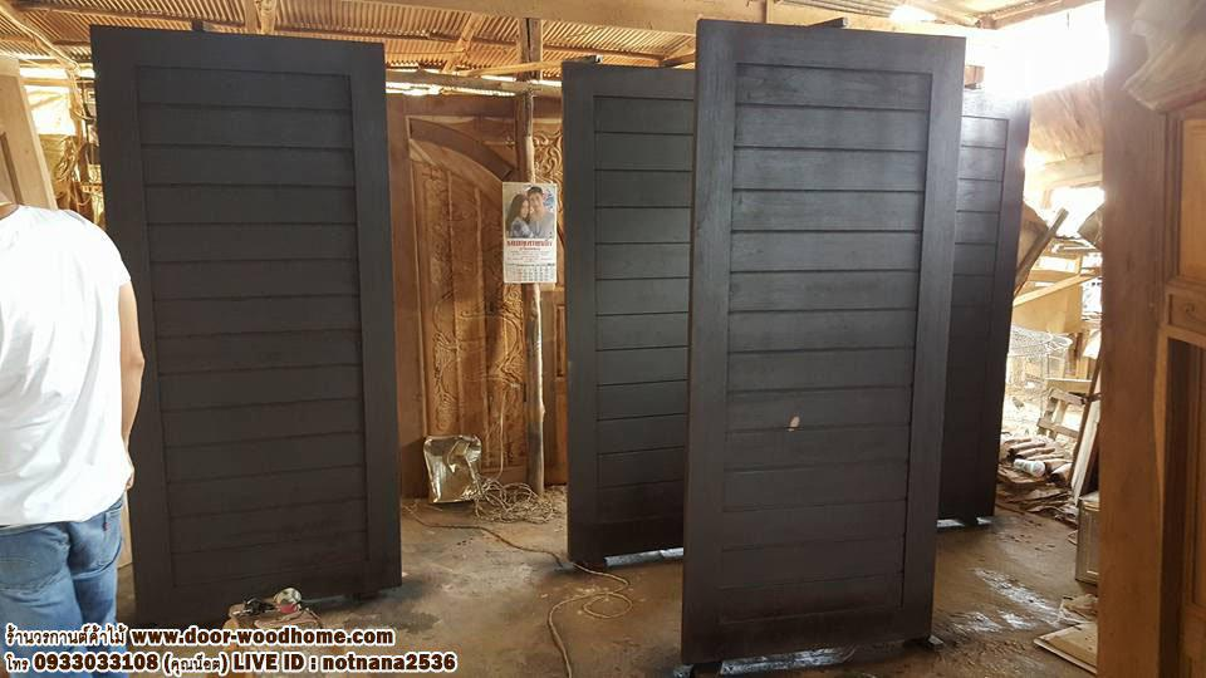 ร้านวรกานต์ค้าไม้ จำหน่าย ประตูไม้สักบานคู่ ประตูไม้สักบานเดี่ยว ประตูไม้สักกระจกนิรภัย ประตูโมเดิร์น รูปที่ 2