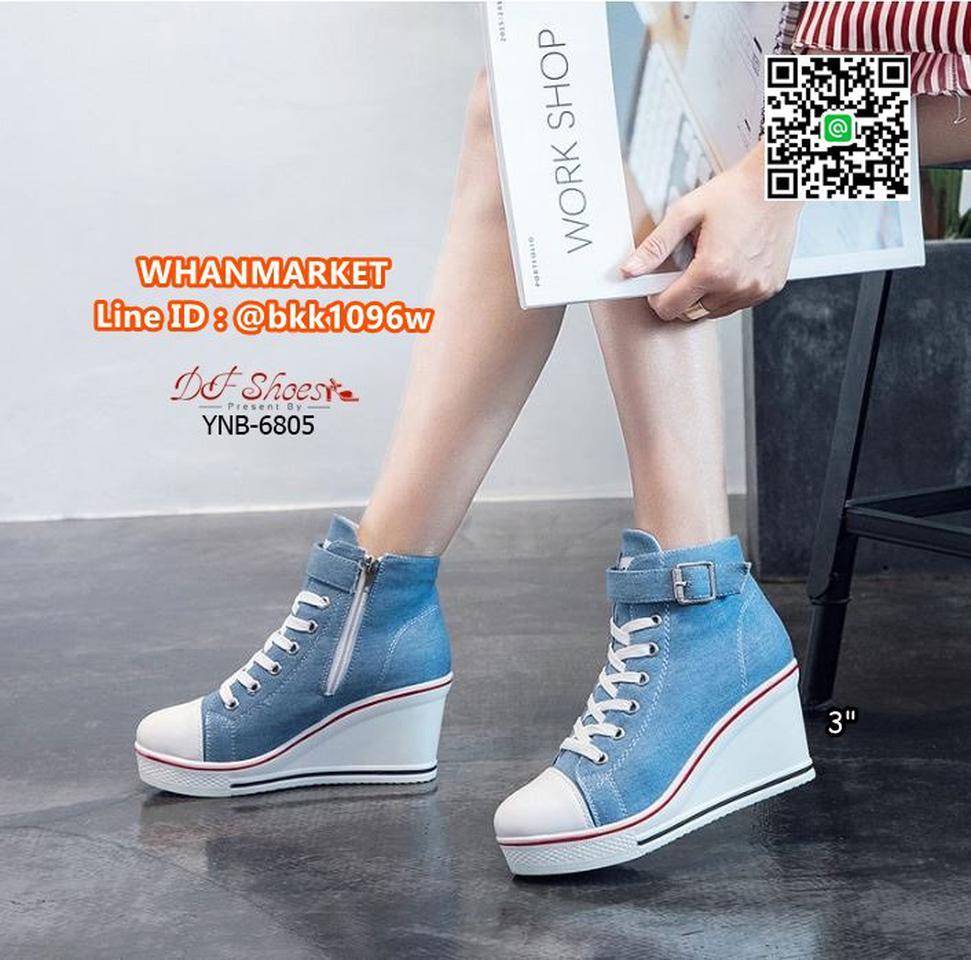 รองเท้าผ้าใบหุ้มข้อ เสริมส้น 3 นิ้ว วัสดุผ้าแคนวาส ส้นPU  รูปที่ 6