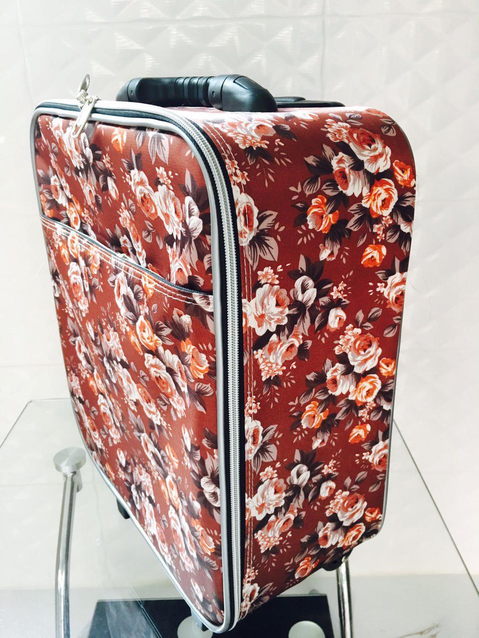 กระเป๋าเดินทางแบบผ้า ลายดอกไม้พื้นน้ำตาล ขนาด 16 นิ้ว รูปที่ 2
